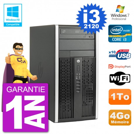 PC HP 6300 MT Intel Core I3-2120 RAM 4Go Disque Dur 1To Graveur DVD Wifi W7