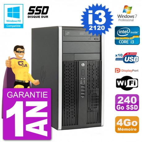PC HP 6300 MT Intel Core I3-2120 RAM 4Go SSD 240Go Graveur DVD Wifi W7