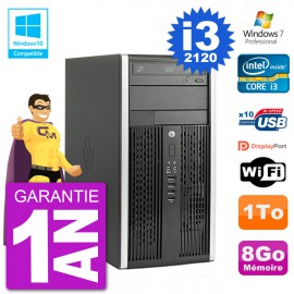 PC HP 6300 MT Intel Core I3-2120 RAM 8Go Disque Dur 1To Graveur DVD Wifi W7