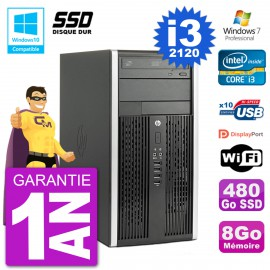 PC HP 6300 MT Intel Core I3-2120 RAM 8Go SSD 480Go Graveur DVD Wifi W7