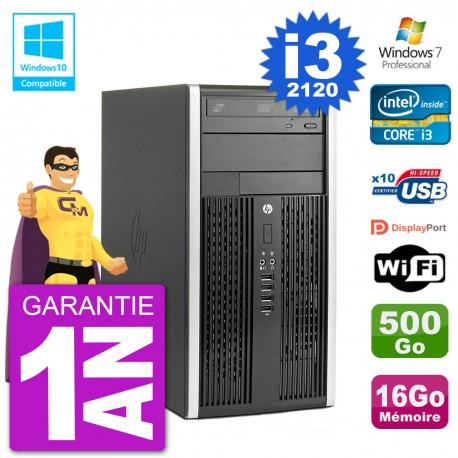PC HP 6300 MT Intel Core I3-2120 RAM 16Go Disque 500Go Graveur DVD Wifi W7