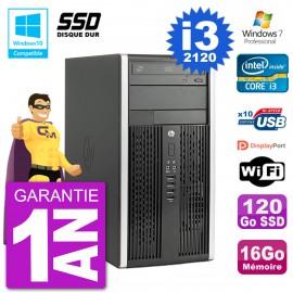 PC HP 6300 MT Intel Core I3-2120 RAM 16Go SSD 120Go Graveur DVD Wifi W7