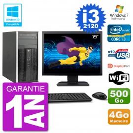"PC HP 6300 MT Ecran 19"" i3-2120 RAM 4Go Disque 500Go Graveur DVD Wifi W7"