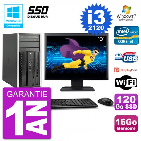 "PC HP 6300 MT Ecran 19"" Core i3-2120 RAM 16Go SSD 120Go Graveur DVD Wifi W7"