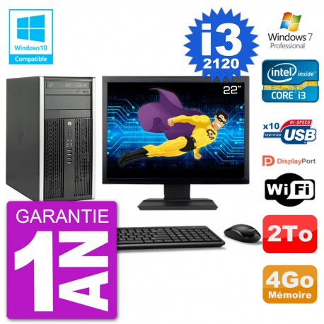 "PC HP 6300 MT Ecran 22"" Core i3-2120 RAM 4Go Disque 2To Graveur DVD Wifi W7"