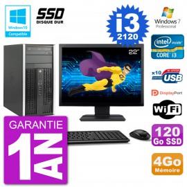 "PC HP 6300 MT Ecran 22"" Core i3-2120 RAM 4Go SSD 120Go Graveur DVD Wifi W7"