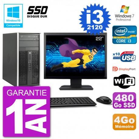 "PC HP 6300 MT Ecran 22"" Core i3-2120 RAM 4Go SSD 480Go Graveur DVD Wifi W7"