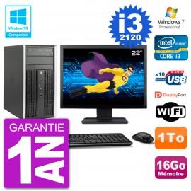 "PC HP 6300 MT Ecran 22"" Core i3-2120 RAM 16Go Disque 1To Graveur DVD Wifi W7"