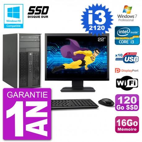 "PC HP 6300 MT Ecran 22"" Core i3-2120 RAM 16Go SSD 120Go Graveur DVD Wifi W7"