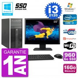 "PC HP 6300 MT Ecran 22"" Core i3-2120 RAM 16Go SSD 960Go Graveur DVD Wifi W7"