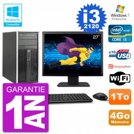 "PC HP 6300 MT Ecran 27"" Core i3-2120 RAM 4Go Disque 1To Graveur DVD Wifi W7"