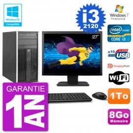 "PC HP 6300 MT Ecran 27"" Core i3-2120 RAM 8Go Disque 1To Graveur DVD Wifi W7"