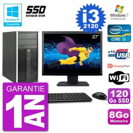 "PC HP 6300 MT Ecran 27"" Core i3-2120 RAM 8Go SSD 120Go Graveur DVD Wifi W7"