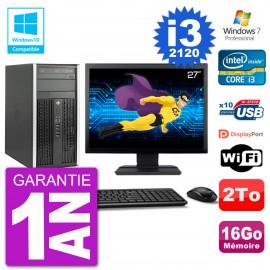 "PC HP 6300 MT Ecran 27"" Core i3-2120 RAM 16Go Disque 2To Graveur DVD Wifi W7"