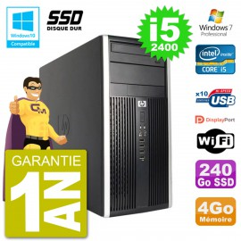 PC HP 6300 MT Intel Core i5-2400 RAM 4Go SSD 240Go Graveur DVD Wifi W7