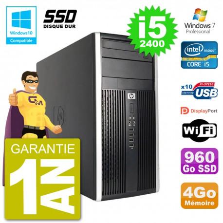 PC HP 6300 MT Intel Core i5-2400 RAM 4Go SSD 960Go Graveur DVD Wifi W7