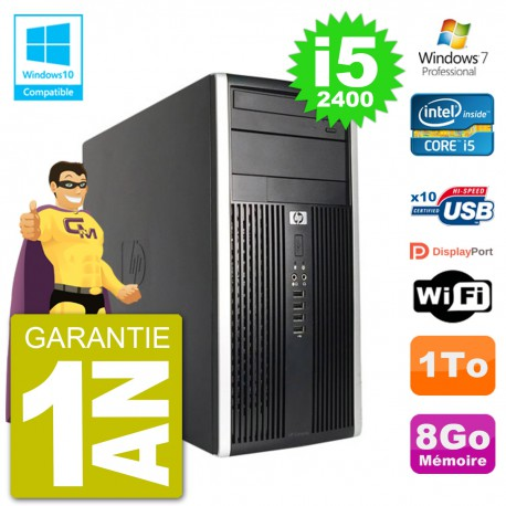 PC HP 6300 MT Intel Core i5-2400 RAM 8Go Disque Dur 1To Graveur DVD Wifi W7
