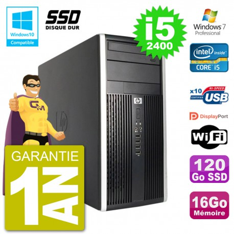 PC HP 6300 MT Intel Core i5-2400 RAM 16Go SSD 120Go Graveur DVD Wifi W7
