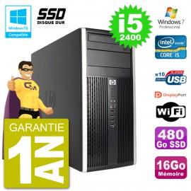 PC HP 6300 MT Intel Core i5-2400 RAM 16Go SSD 480Go Graveur DVD Wifi W7