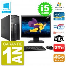 "PC HP 6300 MT Ecran 19"" Core i5-2400 RAM 4Go Disque 2To Graveur DVD Wifi W7"