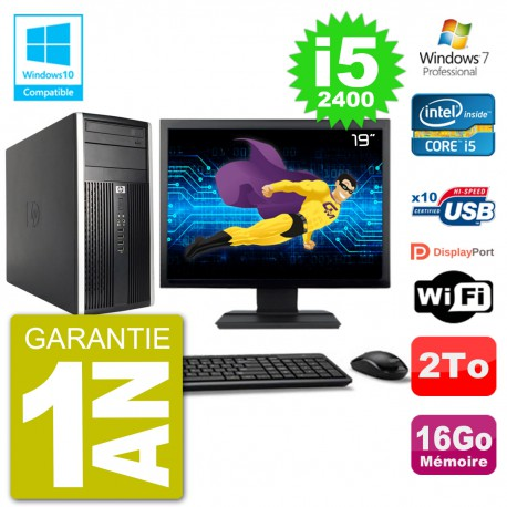 "PC HP 6300 MT Ecran 19"" Core i5-2400 RAM 16Go Disque 2To Graveur DVD Wifi W7"