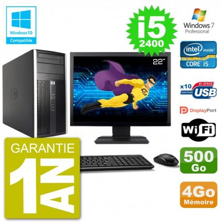 "PC HP 6300 MT Ecran 22"" i5-2400 RAM 4Go Disque 500Go Graveur DVD Wifi W7"