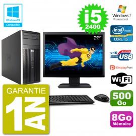 "PC HP 6300 MT Ecran 22"" i5-2400 RAM 8Go Disque 500Go Graveur DVD Wifi W7"