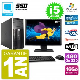 "PC HP 6300 MT Ecran 22"" Core i5-2400 RAM 16Go SSD 480Go Graveur DVD Wifi W7"