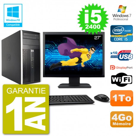"PC HP 6300 MT Ecran 27"" Core i5-2400 RAM 4Go Disque 1To Graveur DVD Wifi W7"