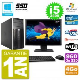 "PC HP 6300 MT Ecran 27"" Core i5-2400 RAM 4Go SSD 960Go Graveur DVD Wifi W7"