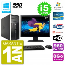 "PC HP 6300 MT Ecran 27"" Core i5-2400 RAM 8Go SSD 960Go Graveur DVD Wifi W7"
