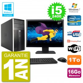 "PC HP 6300 MT Ecran 27"" Core i5-2400 RAM 16Go Disque 1To Graveur DVD Wifi W7"