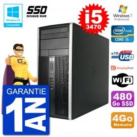 PC HP 6300 MT Intel Core i5-3470 RAM 4Go SSD 480Go Graveur DVD Wifi W7