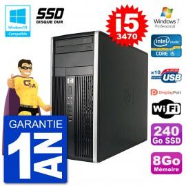 PC HP 6300 MT Intel Core i5-3470 RAM 8Go SSD 240Go Graveur DVD Wifi W7