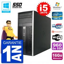 PC HP 6300 MT Intel Core i5-3470 RAM 16Go SSD 960Go Graveur DVD Wifi W7