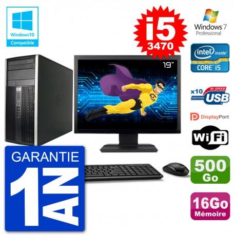 "PC HP 6300 MT Ecran 19"" i5-3470 RAM 16Go Disque 500Go Graveur DVD Wifi W7"