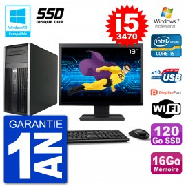 "PC HP 6300 MT Ecran 19"" Core i5-3470 RAM 16Go SSD 120Go Graveur DVD Wifi W7"