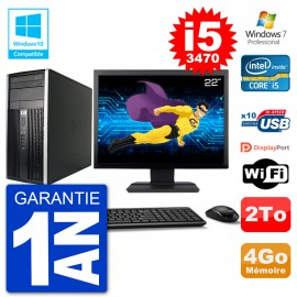"PC HP 6300 MT Ecran 22"" Core i5-3470 RAM 4Go Disque 2To Graveur DVD Wifi W7"