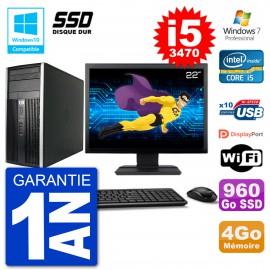 "PC HP 6300 MT Ecran 22"" Core i5-3470 RAM 4Go SSD 960Go Graveur DVD Wifi W7"