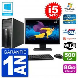 "PC HP 6300 MT Ecran 22"" i5-3470 RAM 8Go Disque 500Go Graveur DVD Wifi W7"