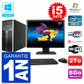 "PC HP 6300 MT Ecran 22"" Core i5-3470 RAM 8Go Disque 2To Graveur DVD Wifi W7"