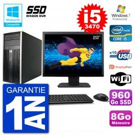 "PC HP 6300 MT Ecran 22"" Core i5-3470 RAM 8Go SSD 960Go Graveur DVD Wifi W7"