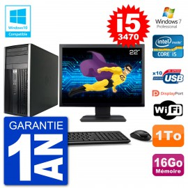 "PC HP 6300 MT Ecran 22"" Core i5-3470 RAM 16Go Disque 1To Graveur DVD Wifi W7"