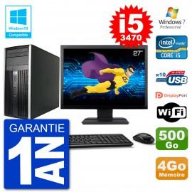 "PC HP 6300 MT Ecran 27"" i5-3470 RAM 4Go Disque 500Go Graveur DVD Wifi W7"
