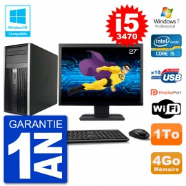 "PC HP 6300 MT Ecran 27"" Core i5-3470 RAM 4Go Disque 1To Graveur DVD Wifi W7"