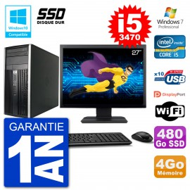 "PC HP 6300 MT Ecran 27"" Core i5-3470 RAM 4Go SSD 480Go Graveur DVD Wifi W7"