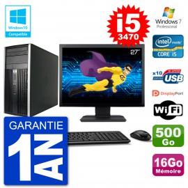 "PC HP 6300 MT Ecran 27"" i5-3470 RAM 16Go Disque 500Go Graveur DVD Wifi W7"