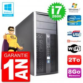 PC HP 6300 MT Intel Core i7-2600 RAM 8Go Disque Dur 2To Graveur DVD Wifi W7