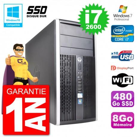 PC HP 6300 MT Intel Core i7-2600 RAM 8Go SSD 480Go Graveur DVD Wifi W7