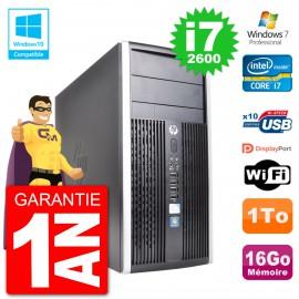 PC HP 6300 MT Intel Core i7-2600 RAM 16Go Disque 1To Graveur DVD Wifi W7